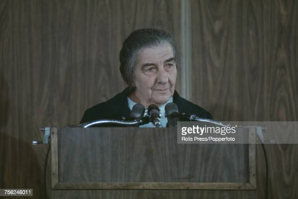 Prime Minister of Israel Golda Meir pictured at a news conference in Washington DC during her visit to the United States for talks with President...