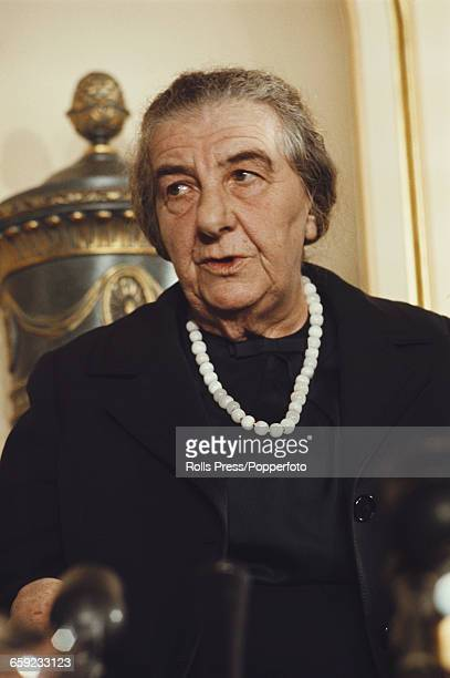Prime Minister of Israel Golda Meir pictured at a press conference at the Dorchester Hotel during a visit to London on 5th November 1970