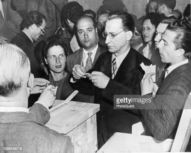 Prime Minister of Italy Alcide De Gasperi casts a ballot in the general elections Rome Italy June 7 1946 The country's first postWW2 election it also...
