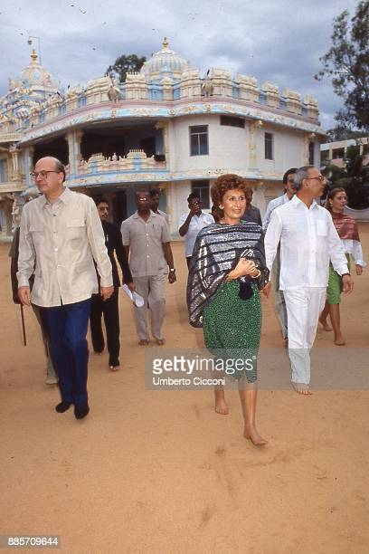 Prime Minister of Italy Bettino Craxi is with his wife Anna Craxi and his brother Antonio Craxi in India for a visit, 1986.