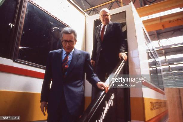 Prime Minister of Italy Bettino Craxi meets Arnaldo Forlani on a camper while they are at the Italian socialist party congress Rimini 1987