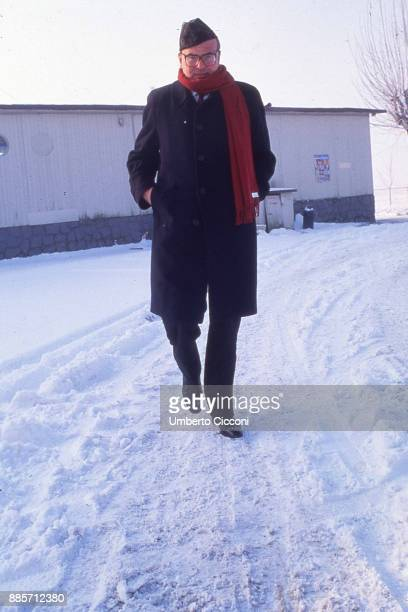 Prime Minister of Italy Bettino Craxi on a snowy day in the city of Ferrara Italy 1986