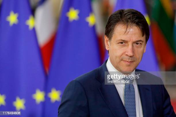 Prime Minister of Italy Giuseppe Conte arrives during the second day of the EU summit meeting, on October 18 at the European Union headquarters in...