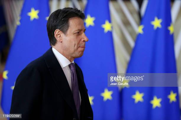 Prime Minister of Italy Giuseppe Conte arrives for the december European Council at the Europa building on December 12, 2019 in Brussels, Belgium....