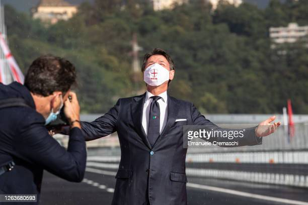 Prime Minister of Italy Giuseppe Conte attends the opening ceremony of the Viadotto Genova San Giorgio on August 03, 2020 in Genoa, Italy. Designed...