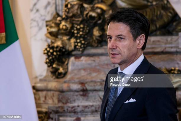 Prime Minister of Italy Giuseppe Conte gestures during a meeting between the president of Argentina and the Prime Minister of Italy ahead of...