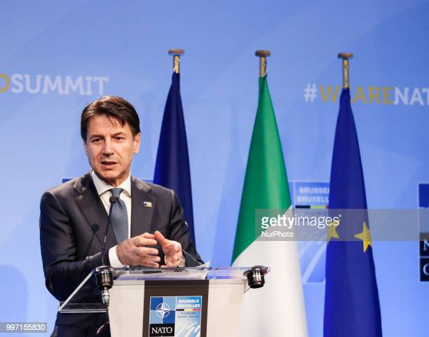 Prime Minister of Italy Giuseppe Conte gives a closing press conference during 2018 summit in NATOs headquarters in Brussels Belgium on July 12 2018