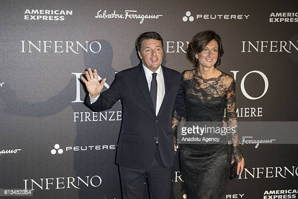 Prime Minister of Italy Matteo Renzi and his wife Agnese Landini attend the world premiere of the movie 'Inferno' at Opera House Florence Italy on...