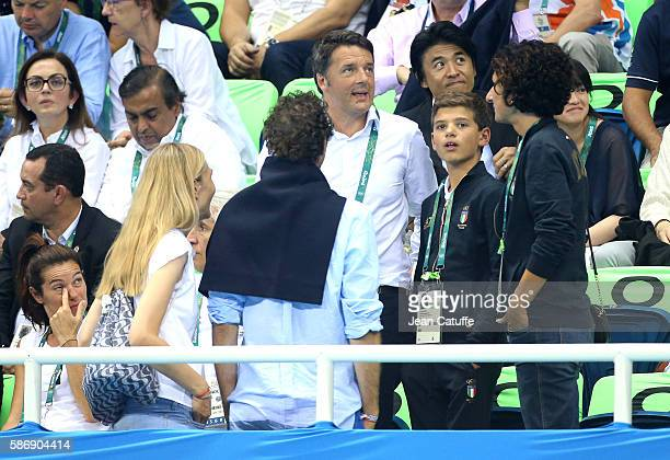 Prime Minister of Italy Matteo Renzi his son and his wife Agnese Landini meet FIAT Chairman John Elkann and his wife Lavinia Borromeo during day 1 of...
