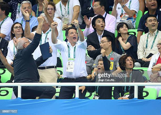 Prime Minister of Italy Matteo Renzi his son his wife Agnese Landini celebrate the bronze medal of countryman Gabriele Detti of Italy in the men's...