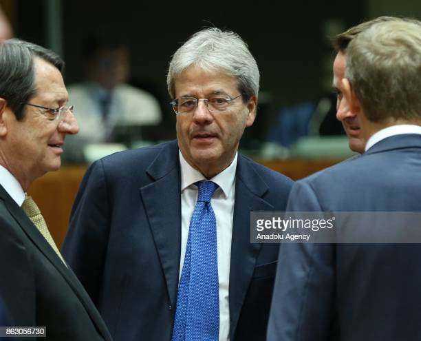 Prime Minister of Italy Paolo Gentiloni attends the European Council Meeting at the Council of the European Union building on October 19 2017 in...