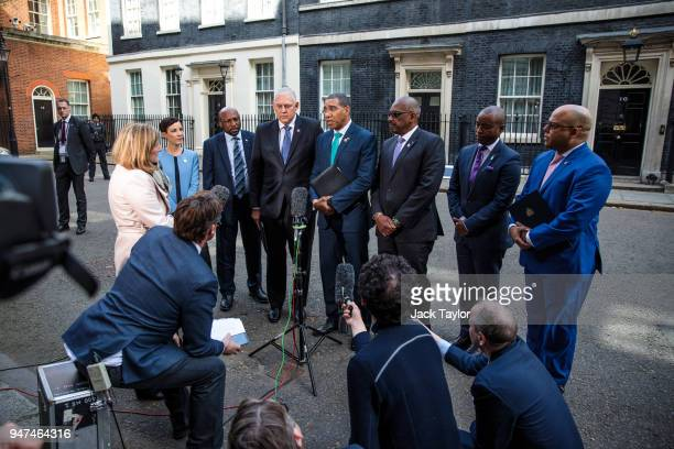 Prime Minister of Jamaica Andrew Holness speaks to the media on Downing Street surrounded by other representatives and leaders of Commonwealth...