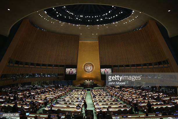 Prime Minister of Japan Shinzo Abe addresses the United Nations General Assembly at UN headquarters on September 29 2015 in New York City The war in...