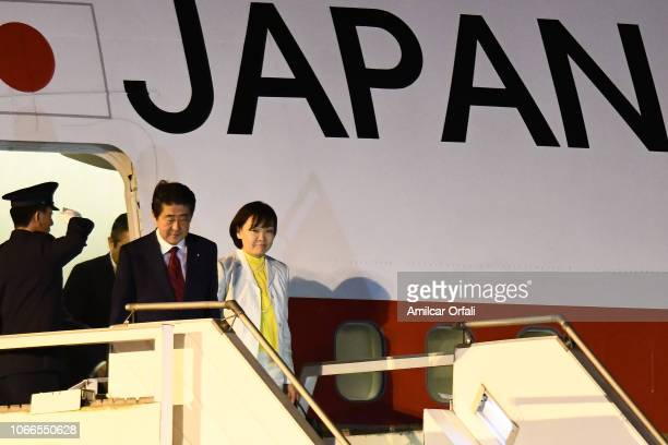Prime Minister of Japan Shinzo Abe and his wife Akie Abe arrive to Buenos Aires for G20 Leaders' Summit 2018 at Ministro Pistarini International...