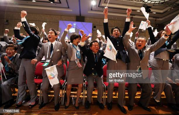 Prime Minister of Japan Shinzo Abe celebrates with the delegation as Tokyo is awarded the 2020 Summer Olympic Gamesduring the 125th IOC Session -...