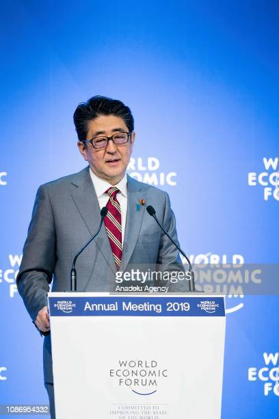 Prime Minister of Japan Shinzo Abe makes a speech during the Session Special Address by Shinzo Abe Prime Minister of Japan at the Annual Meeting 2019...