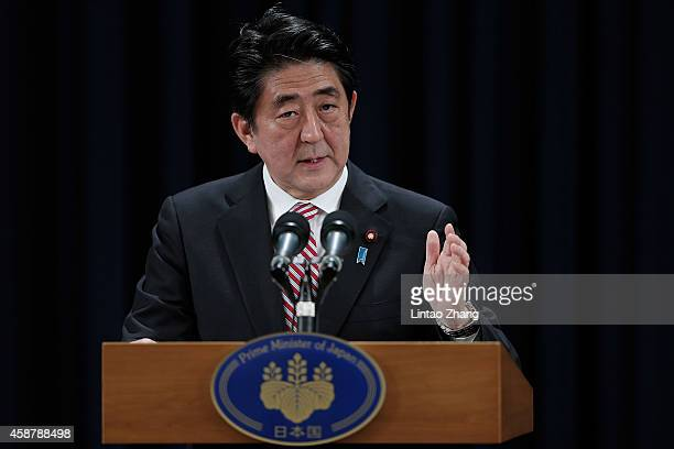 Prime Minister of Japan Shinzo Abe speaks during a press conference in the AsiaPacific Economic Cooperation Summit at Chang Fu Gong hotel on November...