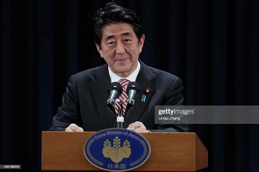 Prime Minister of Japan Shinzo Abe speaks during a press conference in the Asia-Pacific Economic Cooperation (APEC) Summit at Chang Fu Gong hotel on November 11, 2014 in Beijing, China. From November 7-11, the APEC 2014 Summit will bring together leaders and senior administration from 21 countries.