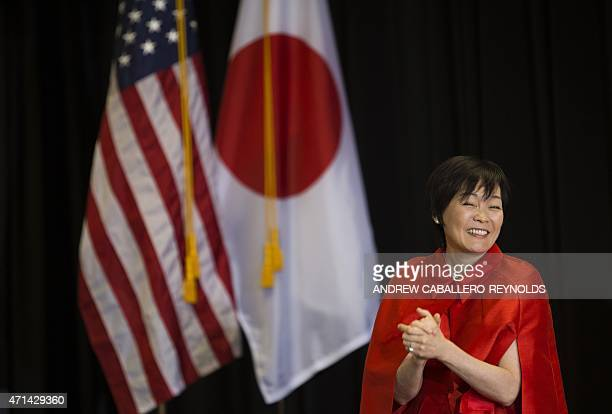Prime Minister of Japan Shinzo Abe's wife Akie Abe meets with students during a tour of the Great Falls Elementary School in Great Falls Virginia on...