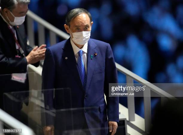 Prime Minister of Japan Yoshihide Suga arrives to the presidential box during the Closing Ceremony on day 12 of the Tokyo 2020 Paralympic Games at...