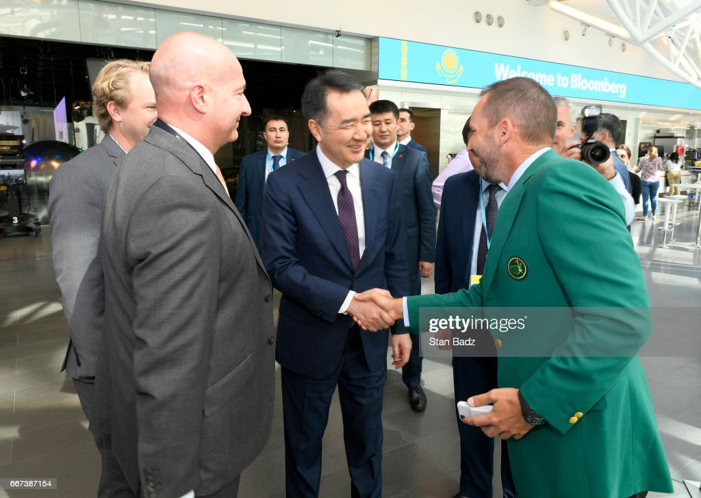 Prime Minister of Kazakhstan Bakytzhan Sagintayev is introduced to