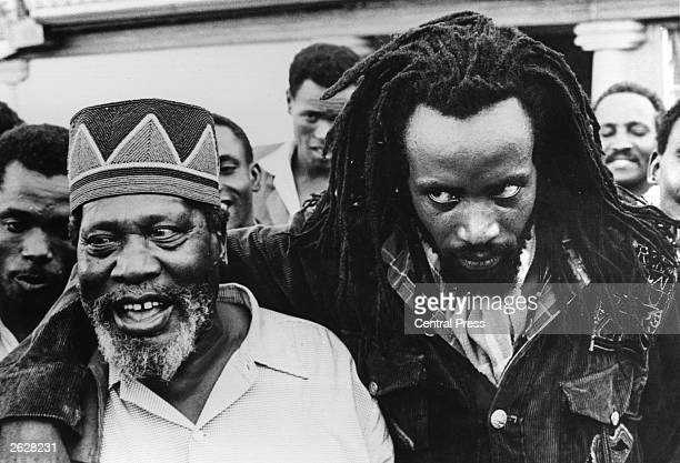 Prime Minister of Kenya and leader of the movement for Kenyan independence Jomo Kenyatta with the Mau Mau leader Field Marshal Mwariama