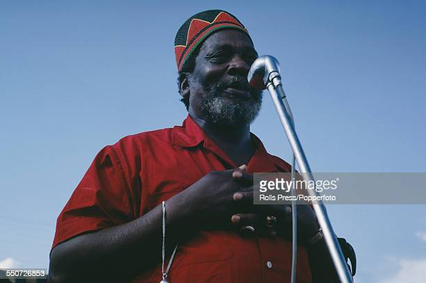 Prime Minister of Kenya Jomo Kenyatta speaks at a political rally in June 1963 after his KANU party won the election in May 1963