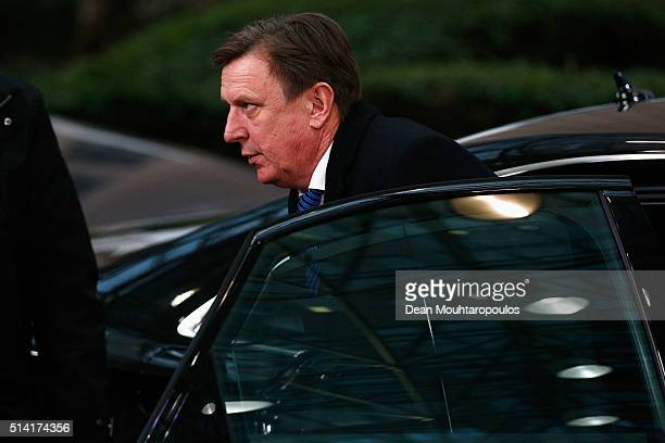 Prime Minister of Latvia Maris Kucinskis arrives for The European Council Meeting In Brussels held at the Justus Lipsius Building on March 7 2016 in...