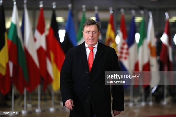 Prime Minister of Latvia Maris Kucinskis arrives for the European Union leaders summit at the European Council on December 14 2017 in Brussels...