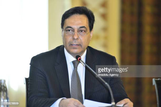 Prime Minister of Lebanon, Hassan Diab meets with foreign diplomatic representatives regarding the economic crisis in Beirut, Lebanon on July 06,...