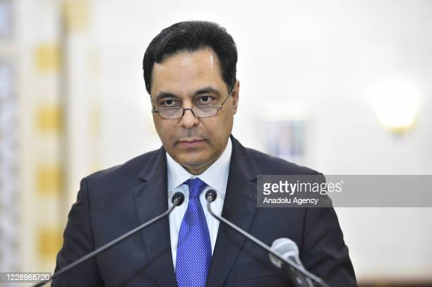 Prime Minister of Lebanon, Hassan Diab speaks during a press conference on the Lebanon's economic situation in Beirut, Lebanon on October 09, 2020.
