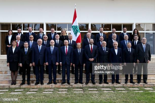 Prime Minister of Lebanon, Saad Hariri along with new cabinet members pose for a photo with Lebanese President Michel Aoun at Baabda Palace, in...