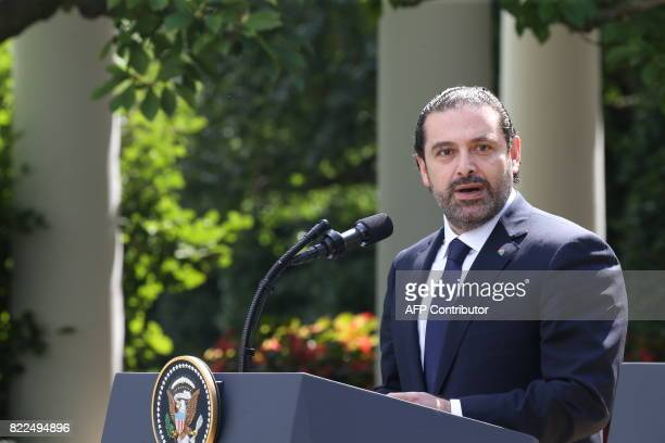 Prime Minister of Lebanon Saad Hariri holds a press conferencer with US President Donald Trump in the Rose Garden at the White House on July 25 2017...