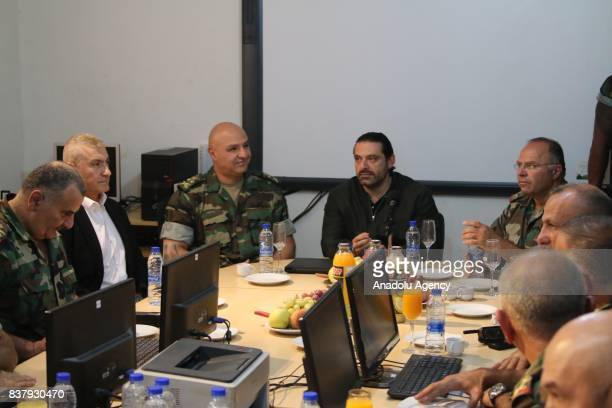 Prime Minister of Lebanon Saad Hariri is informed about operations against Daesh at a military base in Baalbek Lebanon on August 23 2017
