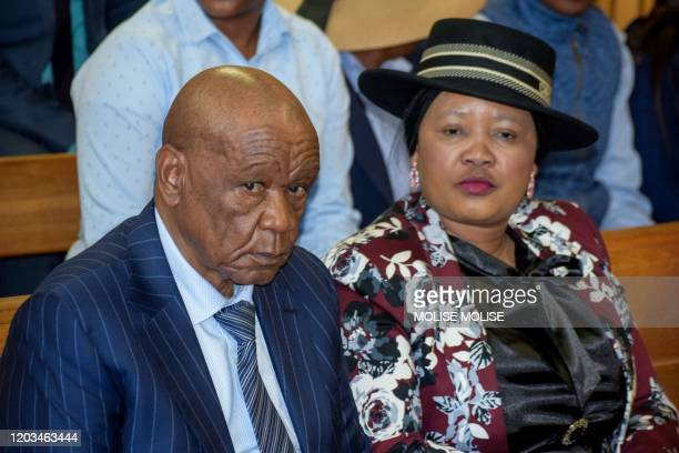 Prime Minister of Lesotho Tom Thabane and his wife Maesaiah Thabane sit at the Magistrate Court in Maseru Lesotho on February 24 2020 Lesotho Prime...