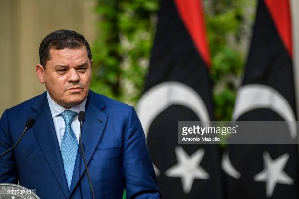 Prime Minister of Libya Abdul Hamid Mohammed Dabaiba or Dbeibeh holds a joint press conference with the Italian Prime Minister Mario Draghi after a...