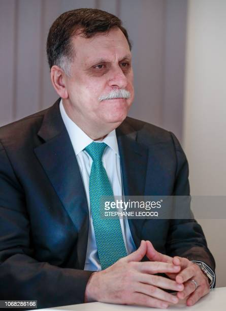 Prime Minister of Libya Fayez al-Sarraj attends a meeting with the High Representative for Foreign Affairs and Security Policy at the EEAS building...