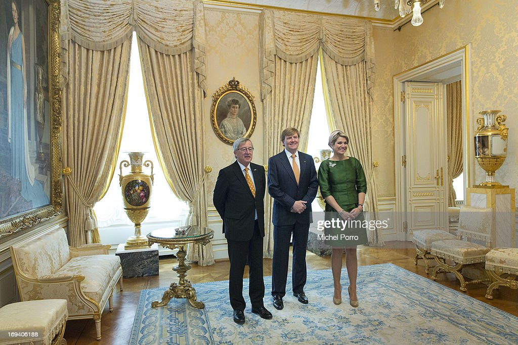 Prime Minister of Luxembourg Jean-Claude Juncker, King Willem-Alexander of The Netherlands and Queen Maxima of The Netherlands meet at the Palace of The Grand Dukes during a one day visit of the King and Queen to Luxembourg on May 24, 2013 in Luxembourg.