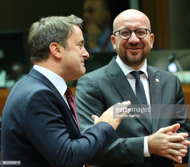 Prime Minister of Luxembourg Xavier Bettel and Belgian Prime Minister Charles Michel attend the European Council Meeting at the Council of the...