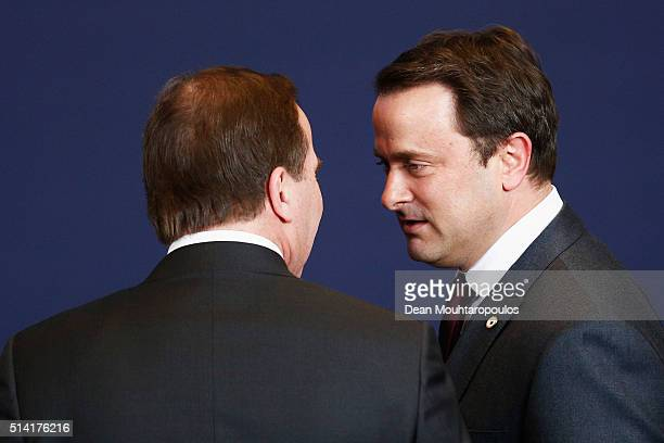 Prime Minister of Luxembourg Xavier Bettel and Prime Minister of Sweden Stefan Lofven speak at the family photo call at The European Council Meeting...