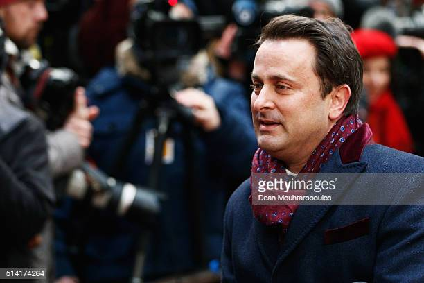 Prime Minister of Luxembourg Xavier Bettel arrives for The European Council Meeting In Brussels held at the Justus Lipsius Building on March 7 2016...