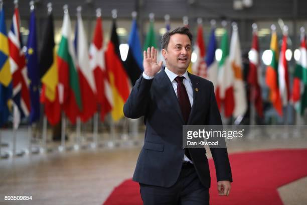 Prime Minister of Luxembourg Xavier Bettel arrives for the European Union leaders summit at the European Council on December 14 2017 in Brussels...