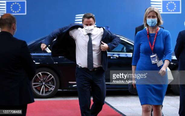 Prime Minister of Luxembourg Xavier Bettel arrives to attend the fourth day of an EU summit in Brussels Belgium on July 20 2020 Leaders of the EU...