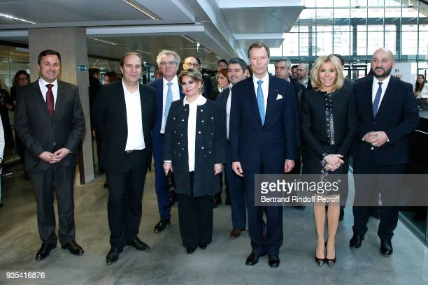 Prime Minister of Luxembourg Xavier Bettel CEO at Iliad and Fondator of the 'Station F' Xavier Niel Minister of Finance of Luxembourg Pierre Gramegna...
