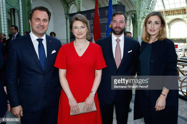 Prime Minister of Luxembourg Xavier Bettel GrandeDuchesse Heritiere Stephanie De Luxembourg GrandDuc Heritier Guillaume and Actress Julie Gayet...