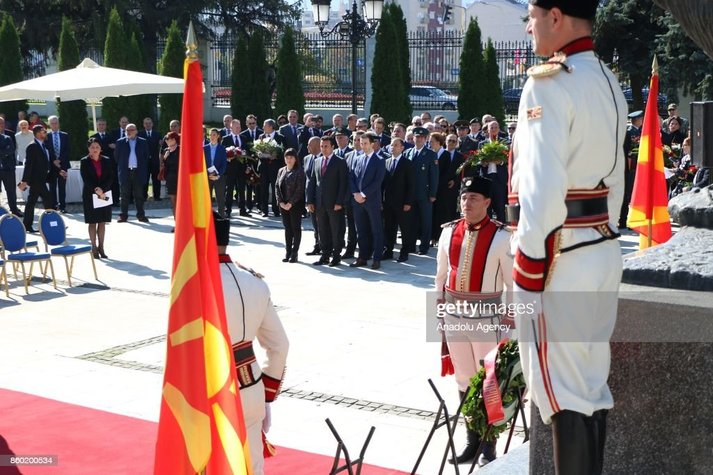 Prime Minister of Macedonia, Zoran Zaev attends Macedonian National Uprising Day (Revolution Day) celebrations in Skopje, Macedonia on October 11, 2017. October 11 marks the anniversary of the beginning of the Macedonian people's uprising against fascism during World War II.