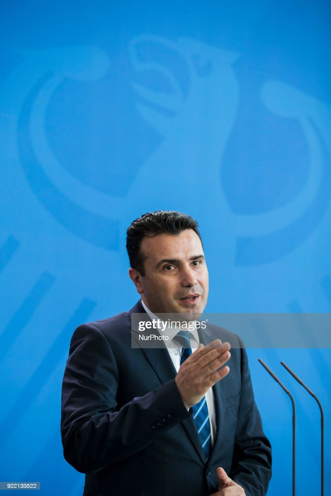 Prime Minister of Macedonia Zoran Zaev is pictured during a press conference held with German Chancellor Angela Merkel (not in the picture) at the Chancellery in Berlin, Germany on February 21, 2018.
