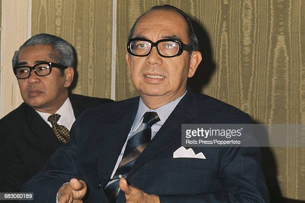 Prime Minister of Malaysia Abdul Razak Hussein pictured at a press conference in 1971
