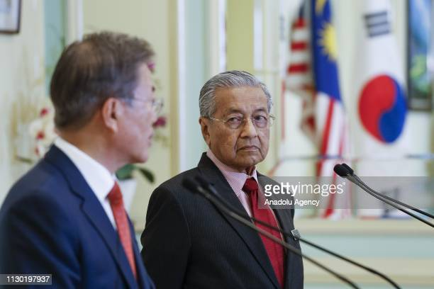 Prime Minister of Malaysia Mahathir Mohamad looks at President of South Korea Moon Jaein during a joint press conference in Putrajaya Malaysia on...