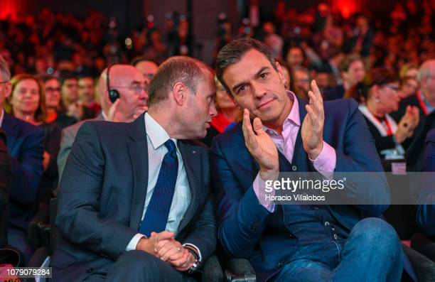 Prime Minister of Malta Joseph Muscat and Prime Minister of Spain Pedro Sanchez at the Party of European Socialists PES Congress 2018 on December 08...